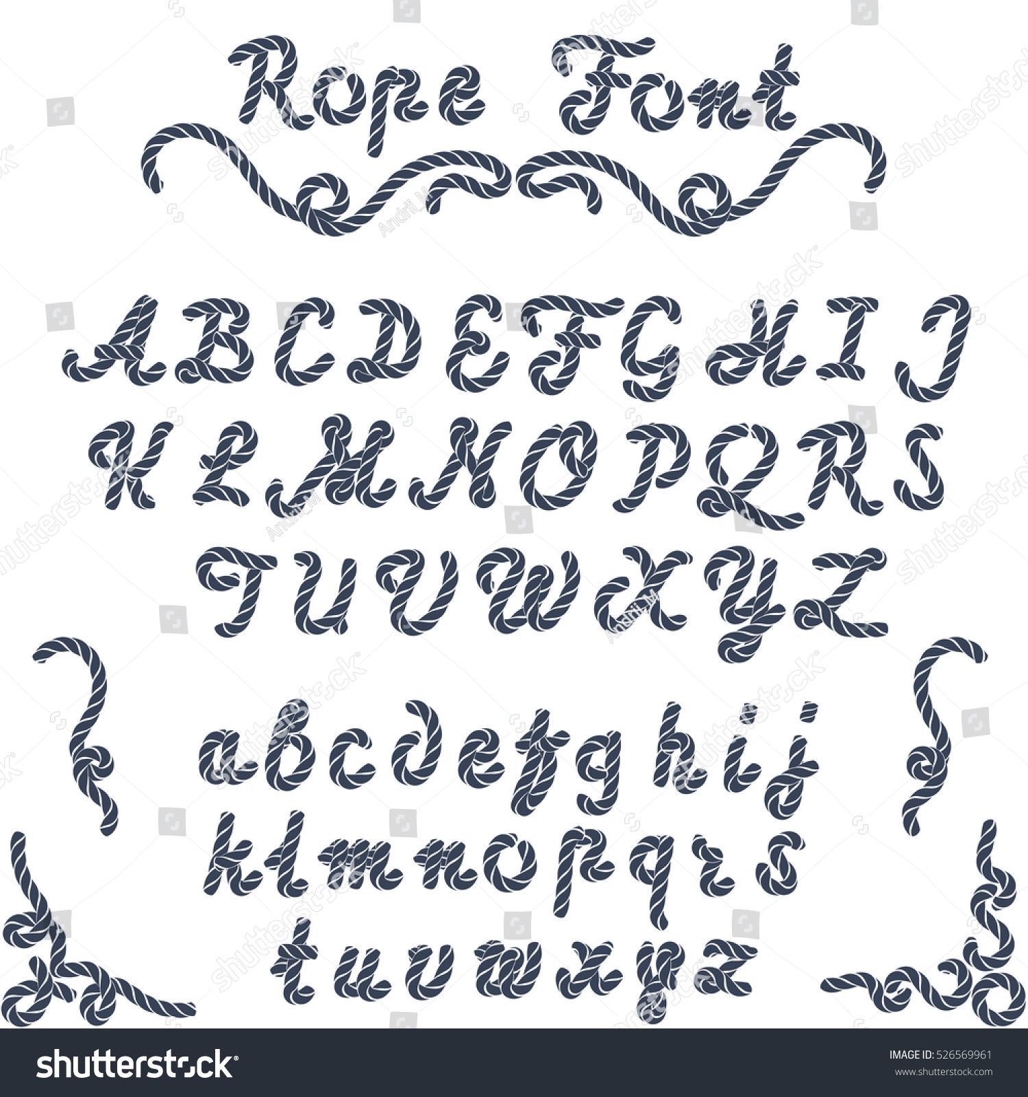 Rope Font Nautical Hand Written Letters From A To Z Sea Style
