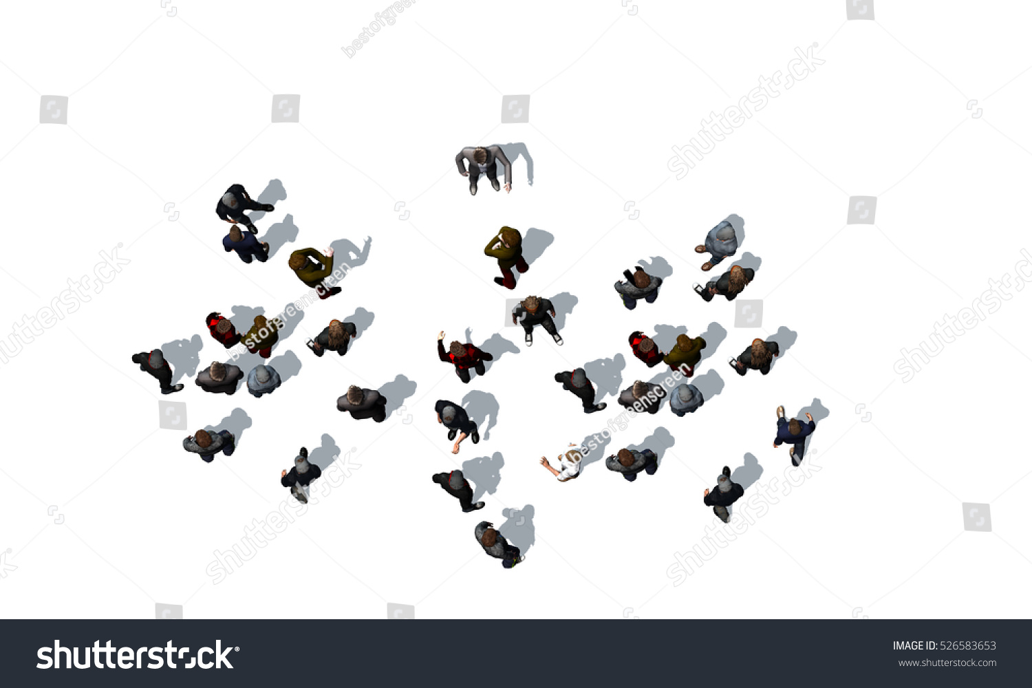 Stock Photo Crowd Of People Top View Isolated On White Background 3d R...