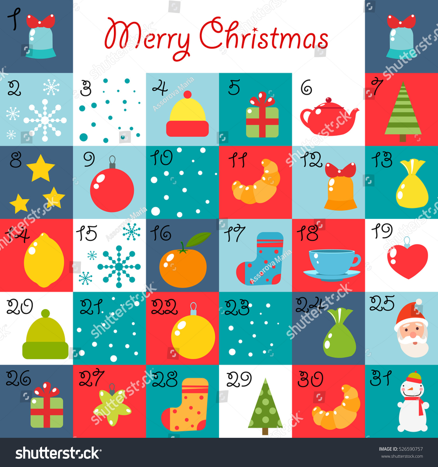 Christmas Calendar Illustration : Advent calendar christmas illustration