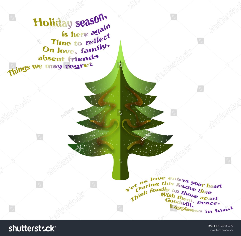 Greeting Card Christmas Tree Verses Dedicated Stock Illustration