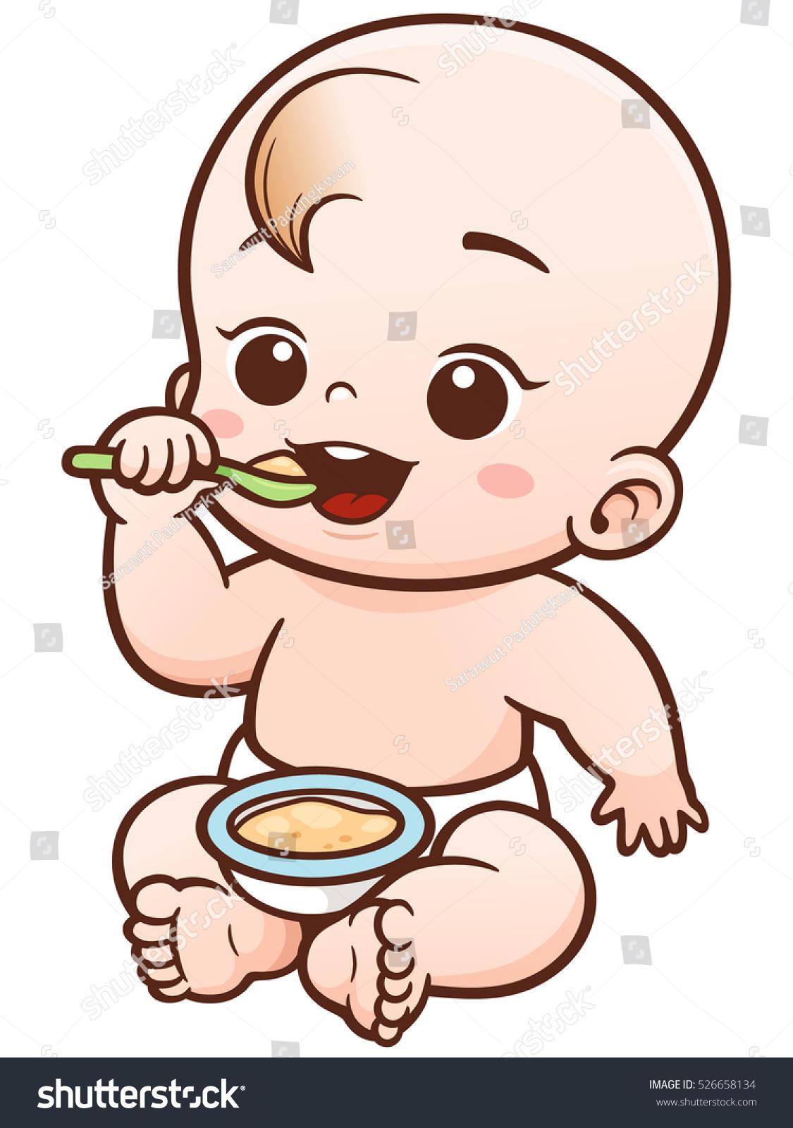 Vector Illustration Cartoon Cute Baby Eating Stock Vector ...