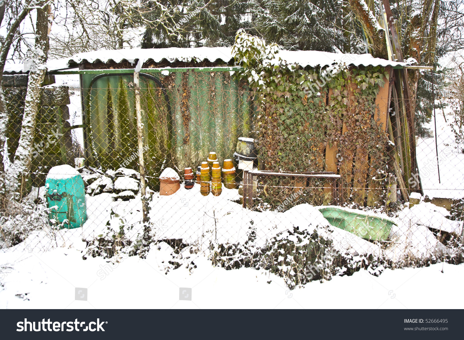 Small Garden Cottage Winter Snow Pots Stock Photo 52666495