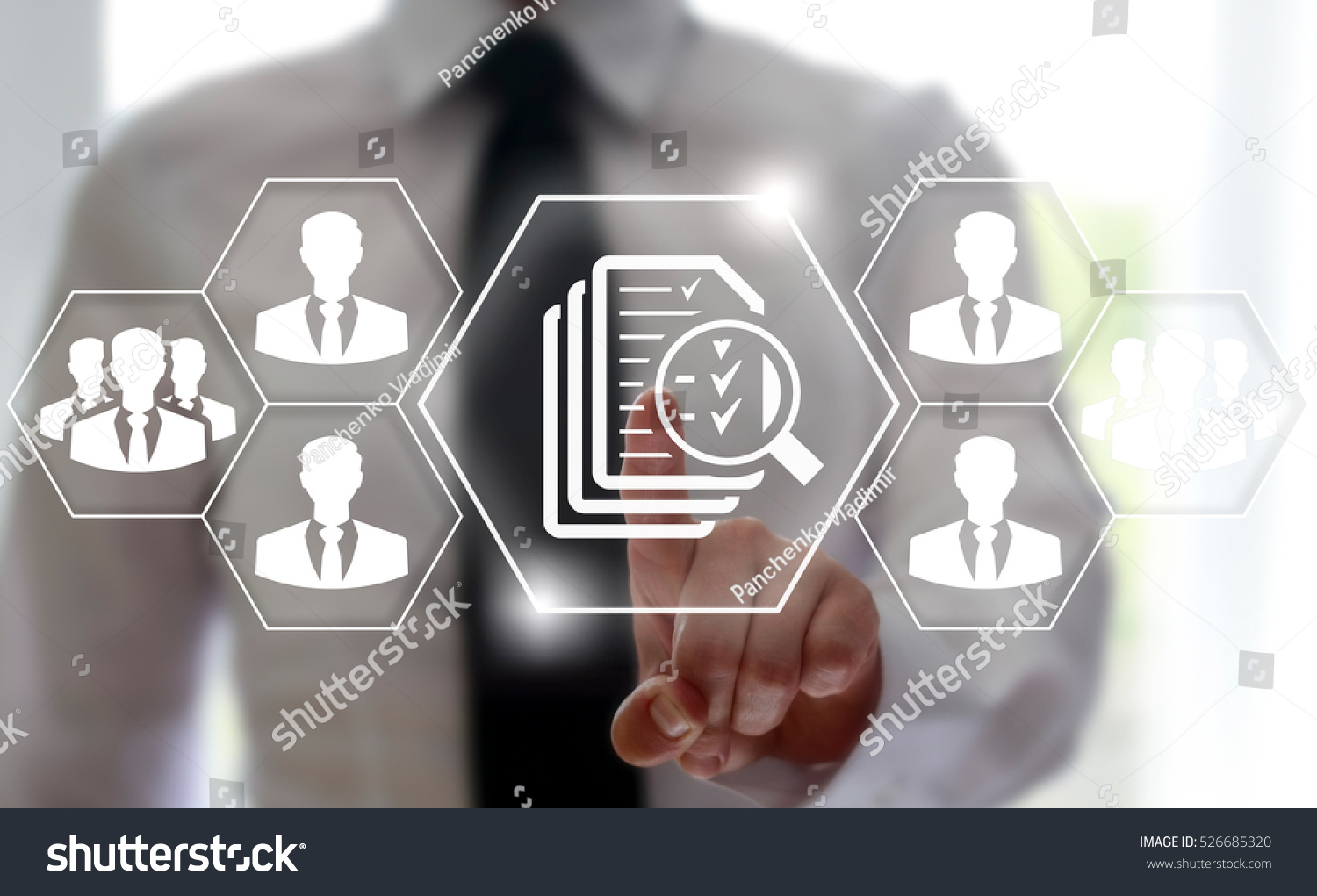 Business Button Search Magnifier File Document Stock Photo