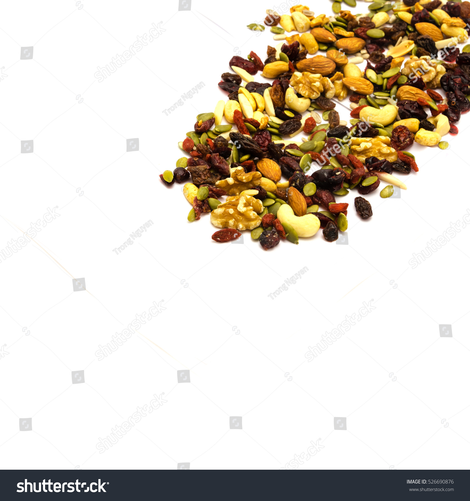 ... , cashew, raisin, goji, dried cranberries, pumpkin, sunflower seeds