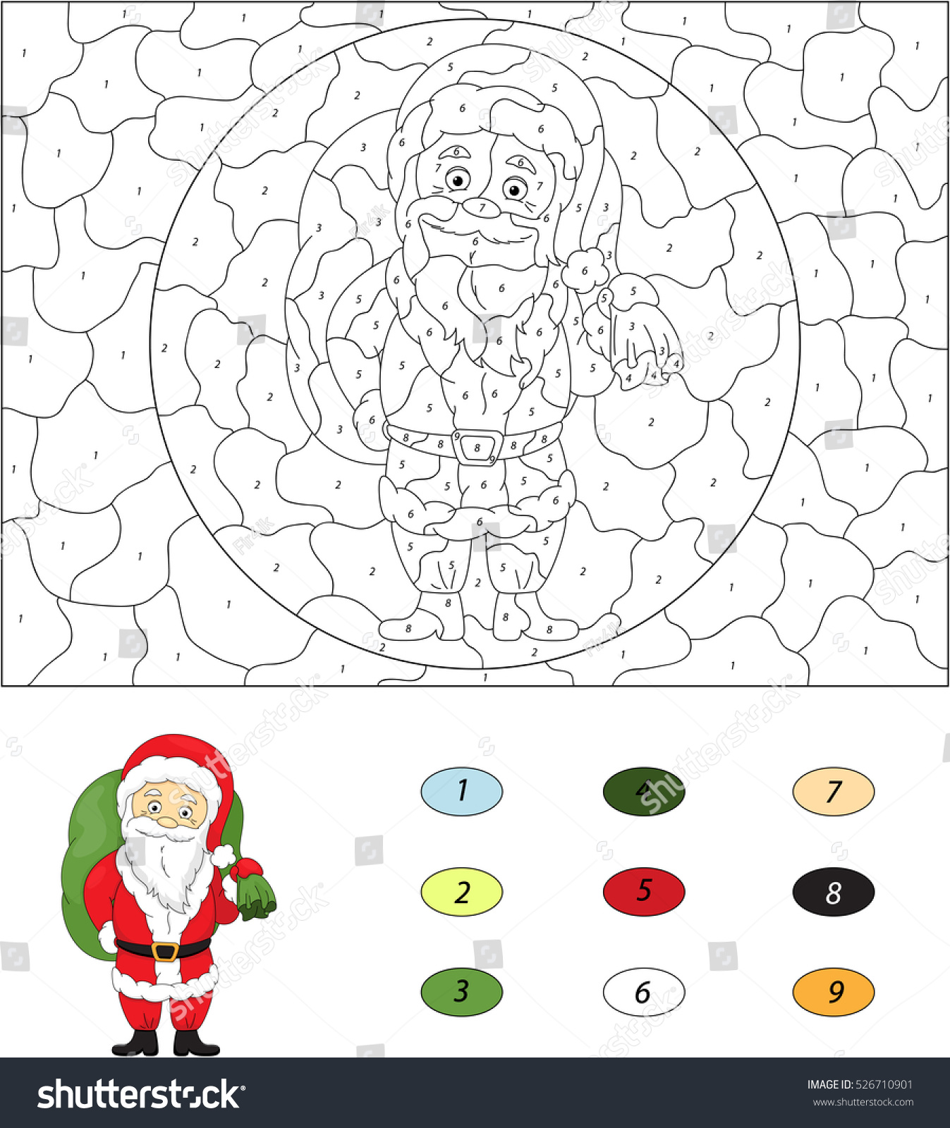 Christmas Santa St Nicolas Color By Stock Vector 526710901 ...