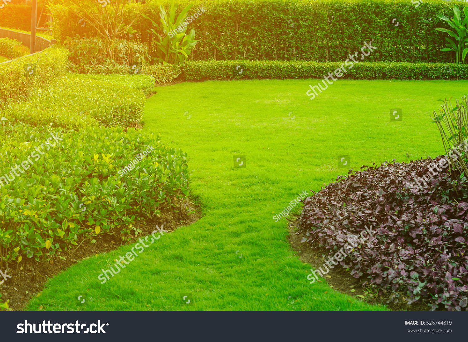 Green lawngarden landscape design stock photo 526744819 for Green landscape design