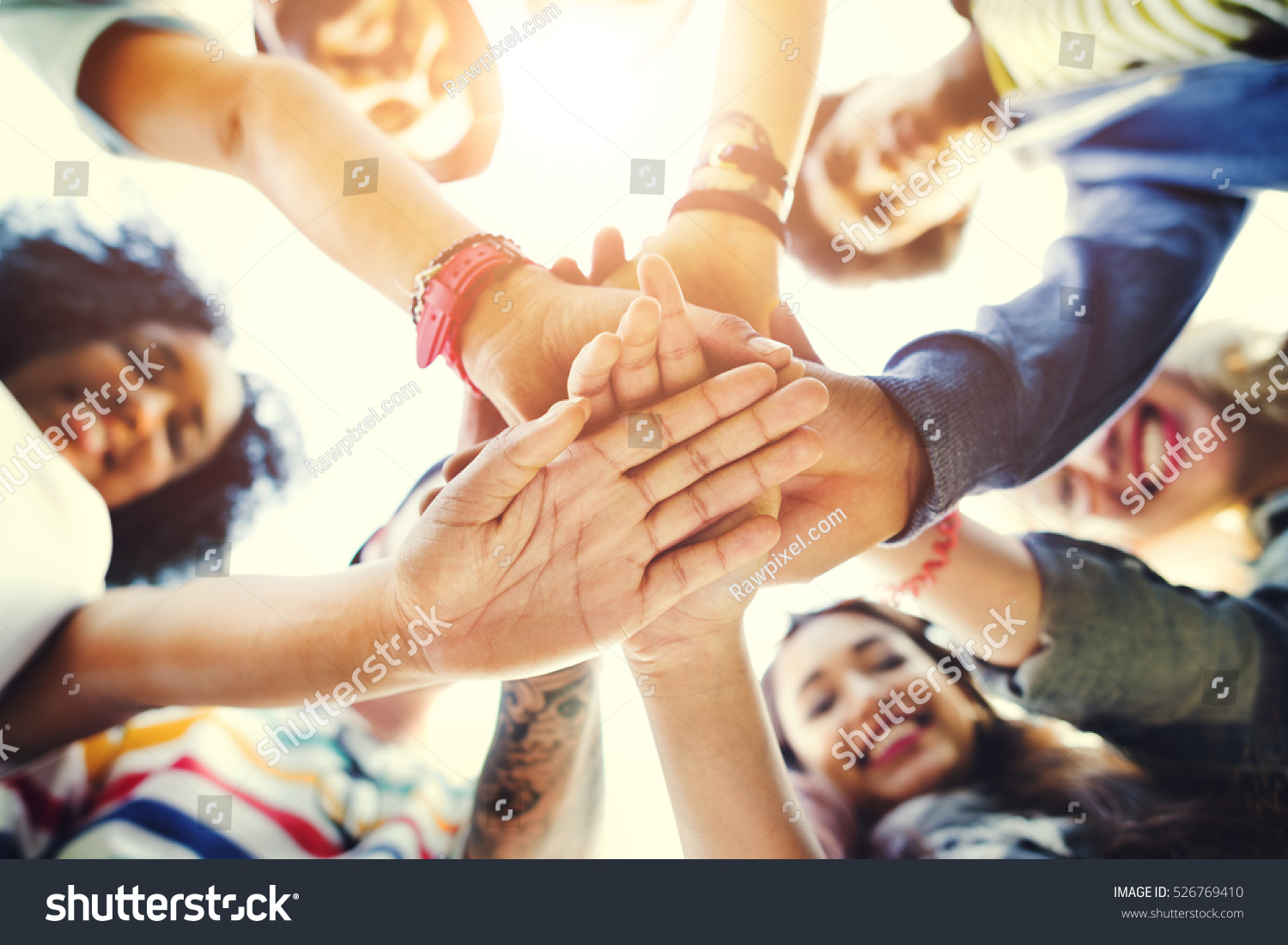 College Students Teamwork Stacking Hand Concept #526769410