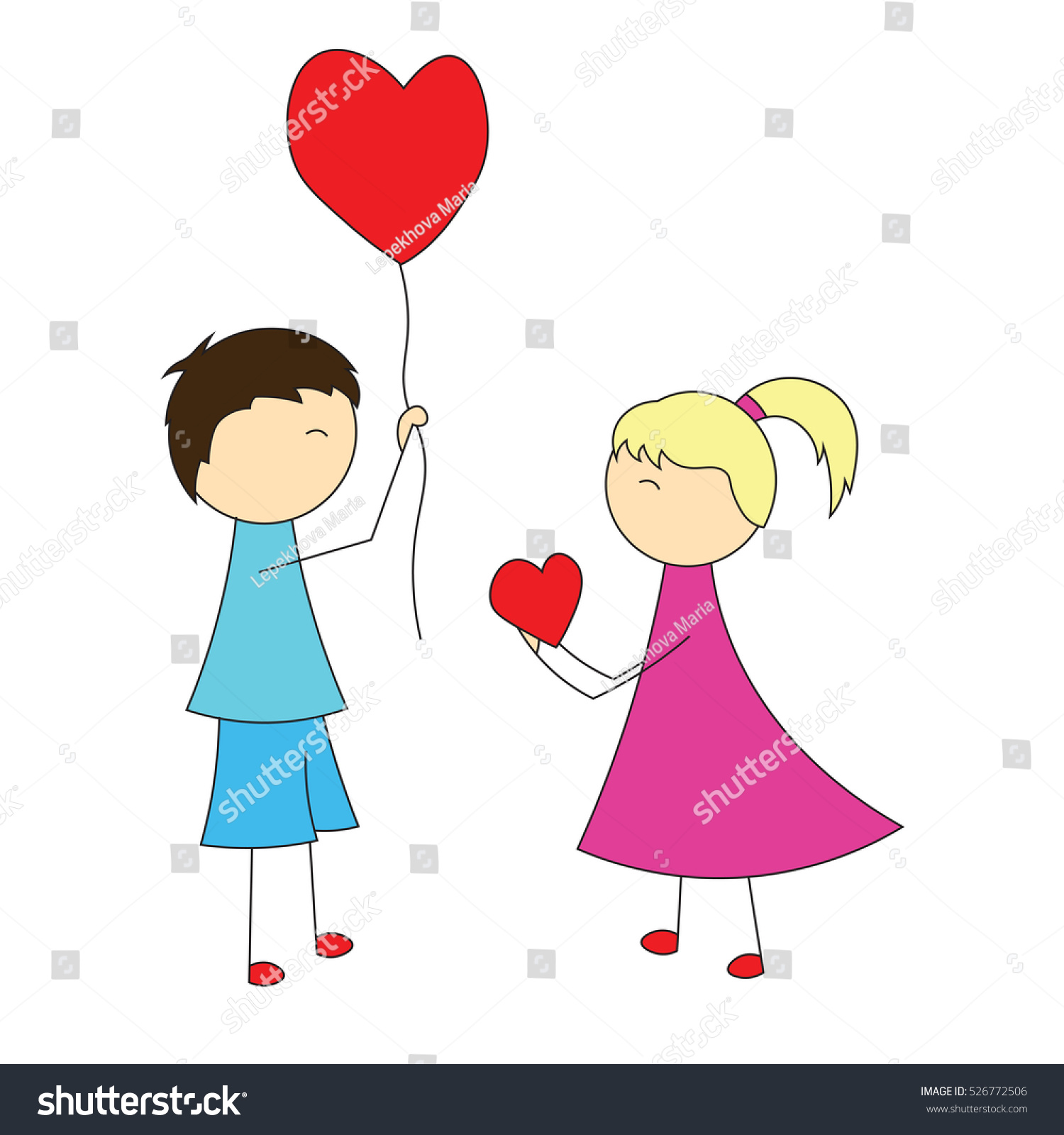 Simple Cartoon Boy Gives Balloon Heart Stock Vector Royalty Free
