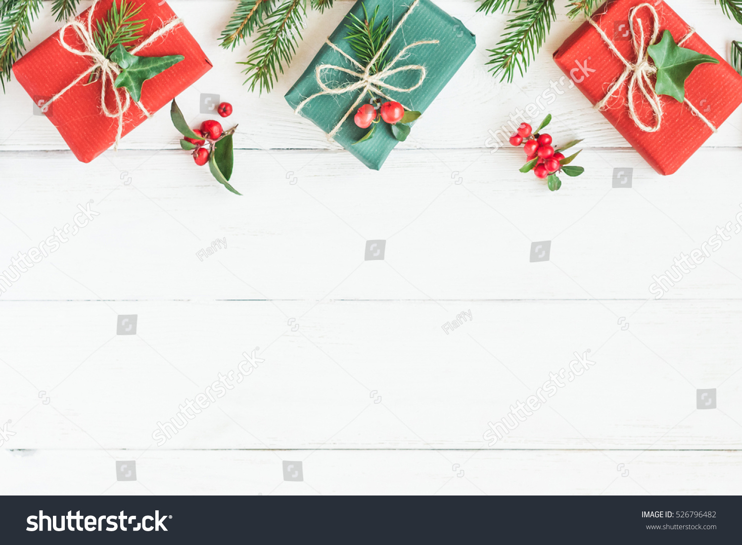 Christmas Toys Border : Christmas border gifts fir branches stock photo