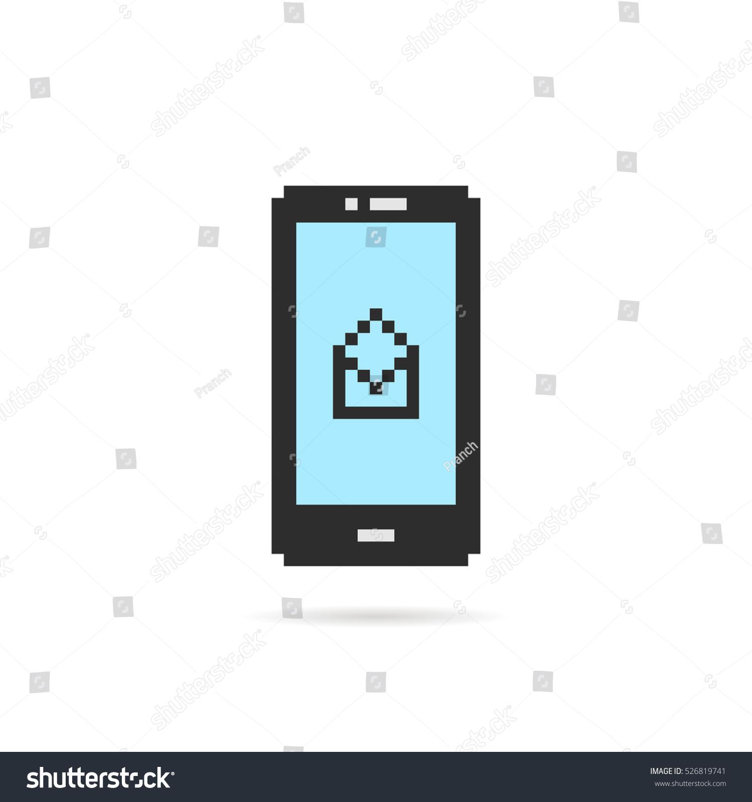 Pixel Art Phone Open Letter Concept Stock Vector 526819741