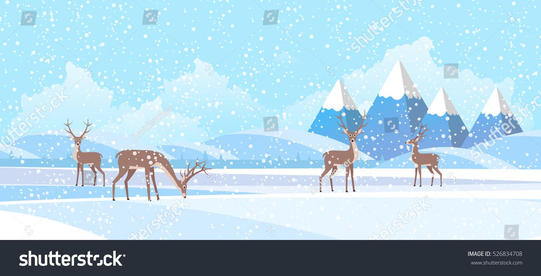 Winter Landscape Background Flat Vector Illustration