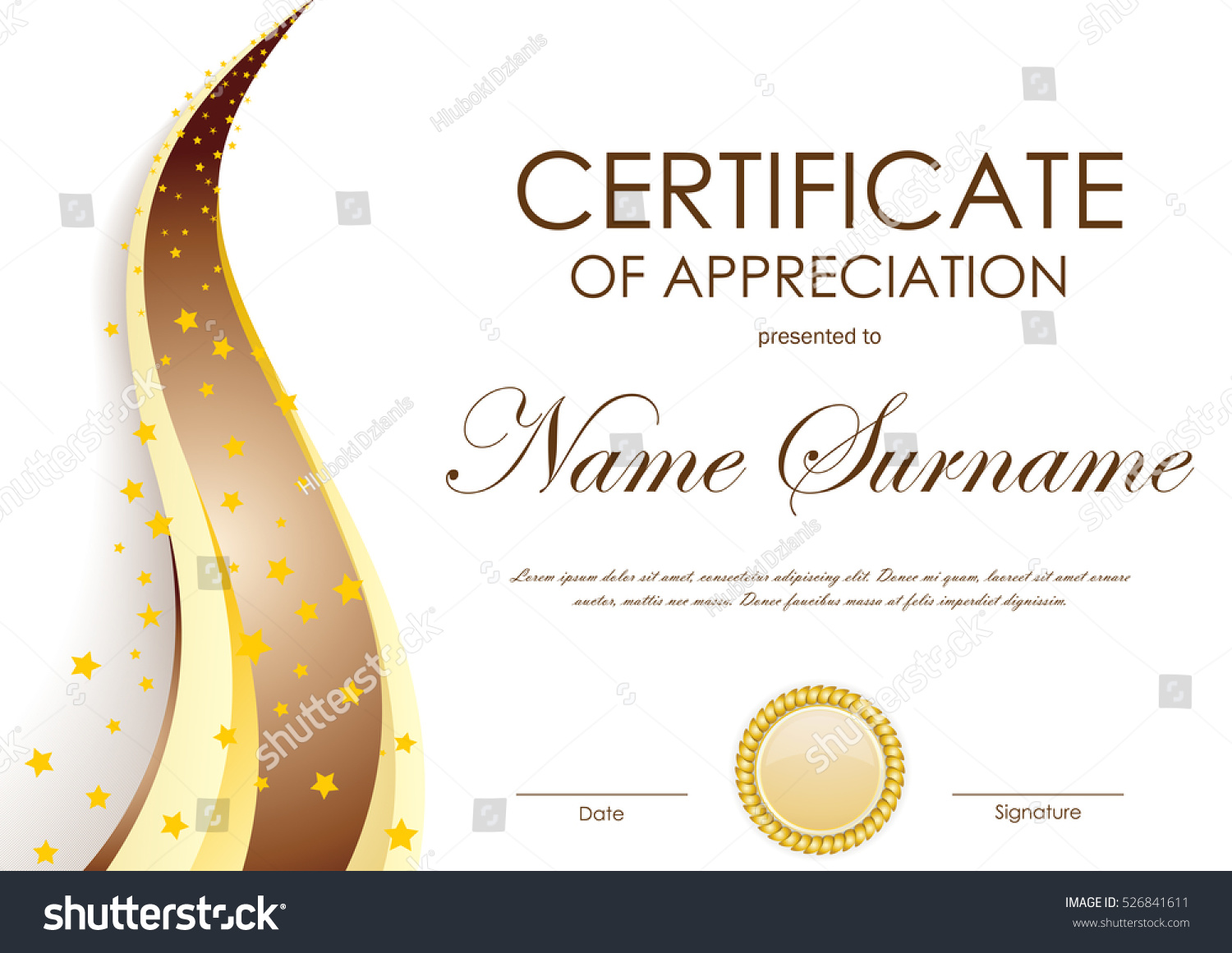 certificate of appreciation template with gold and brown wavy background and seal vector illustration