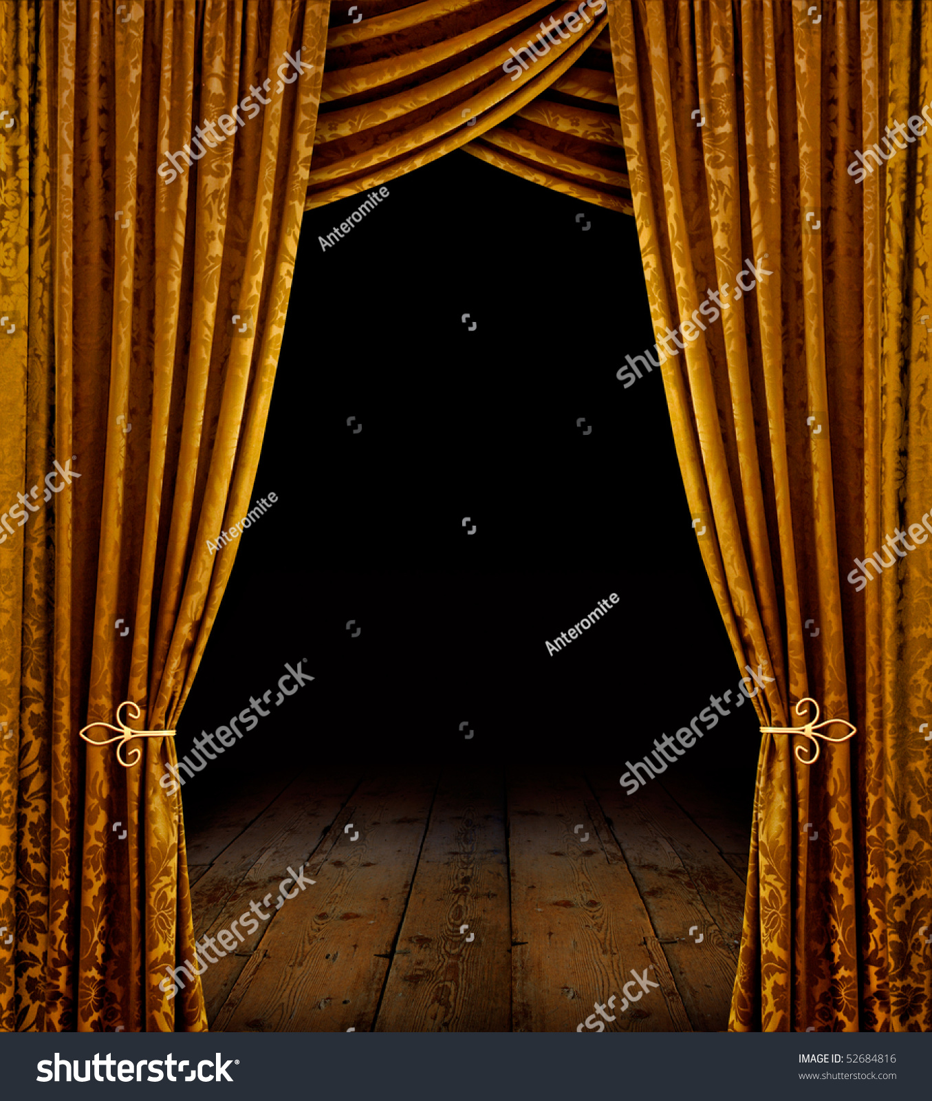 Open Stage Curtains - Golden curtains reveal open stage with wooden floor