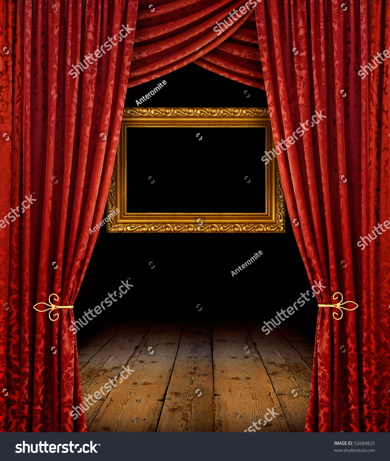 Theater curtains download free vector art stock graphics amp images - Red Stage Curtains Reveal Golden Frame And Old Wooden Floor