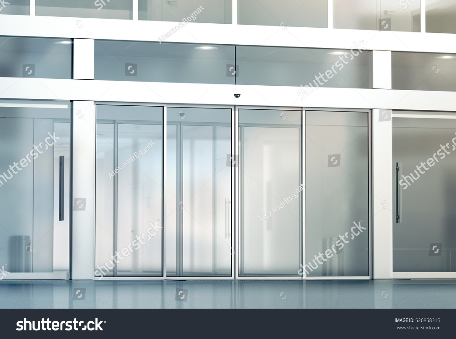 Exterior glass doors business - Blank Sliding Glass Doors Entrance Mockup 3d Rendering Commercial Automatic Entry Mock Up
