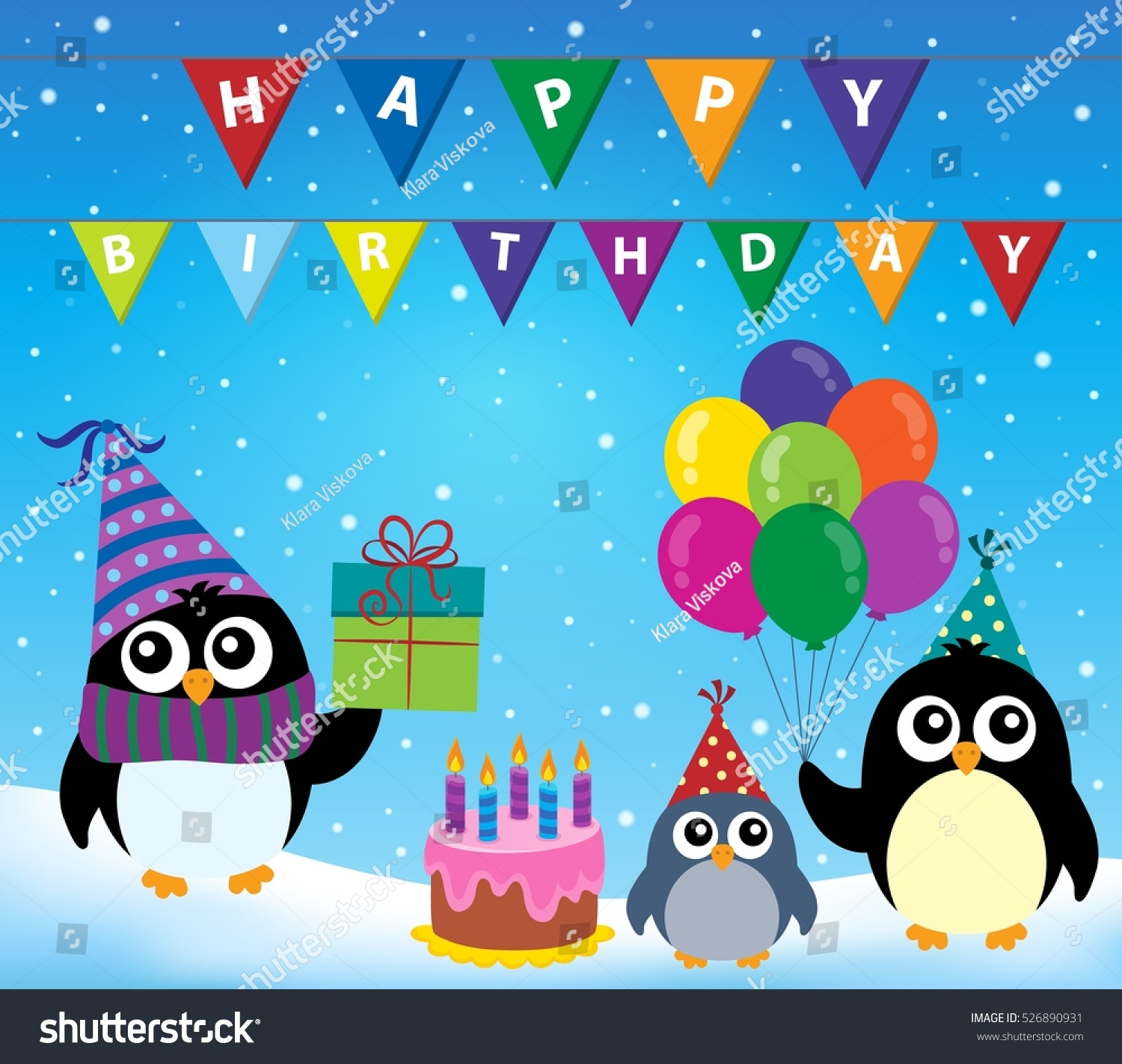 Party penguin theme image 2 eps10 vector illustration