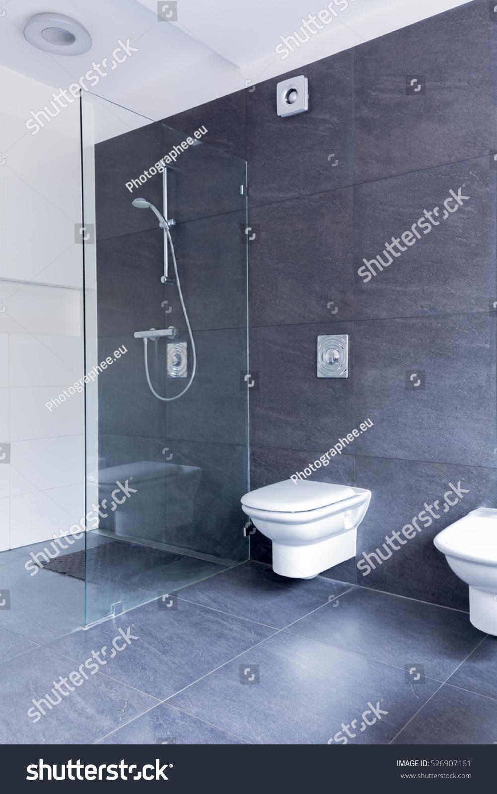 Luxurious Grey Bathroom Large Granite Tiles Stock Photo Edit Now