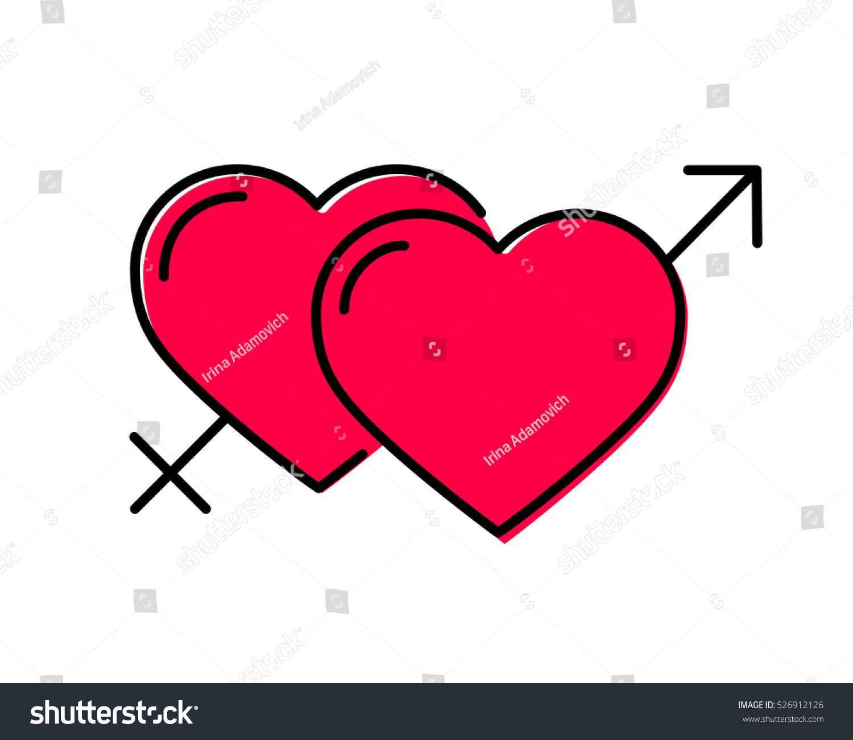 Heart gender symbols male female sex stock vector 526912126 heart gender symbols male and female sex vector icon isolated on white cartoon style buycottarizona Choice Image