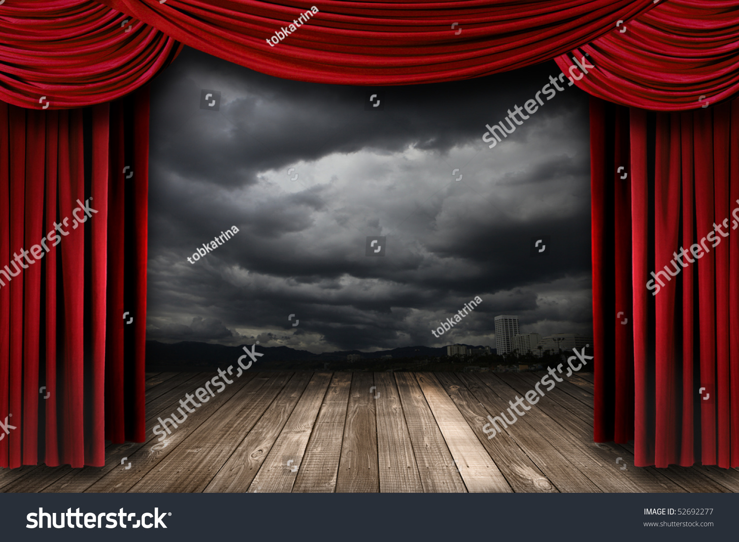 Red stage curtains - Bright Stage With Red Velvet Theater Curtains And Dramatic Sky Background