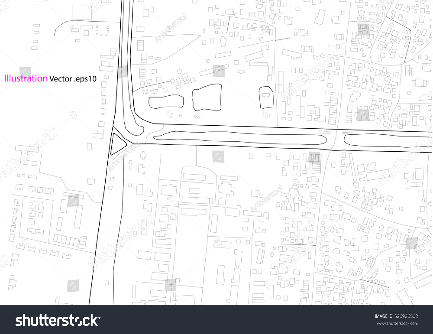 City View Architecture Drawing Map Abstract Illustration Vector