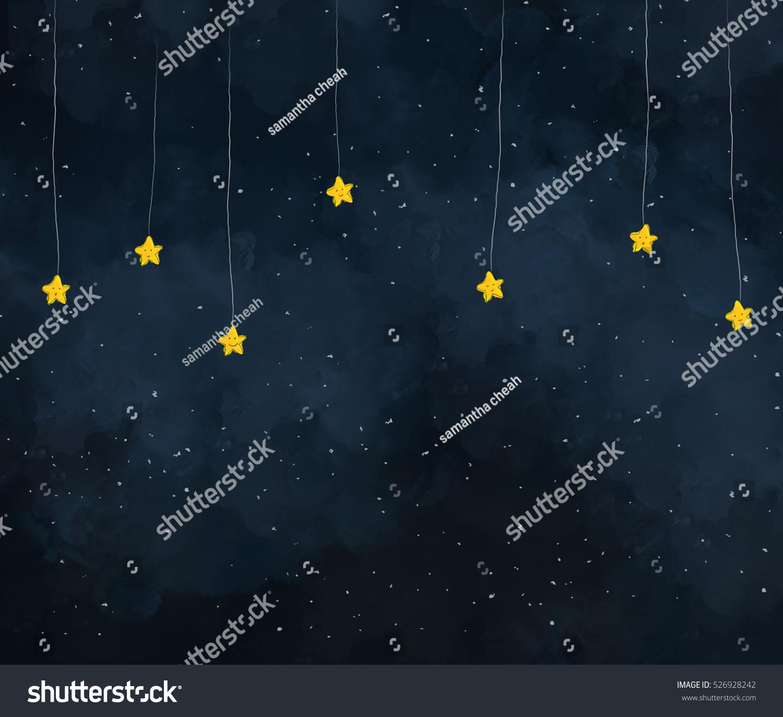 星の夜にぶら下がる黄色い星のイラスト かわいい星の顔 暗い空の夜の