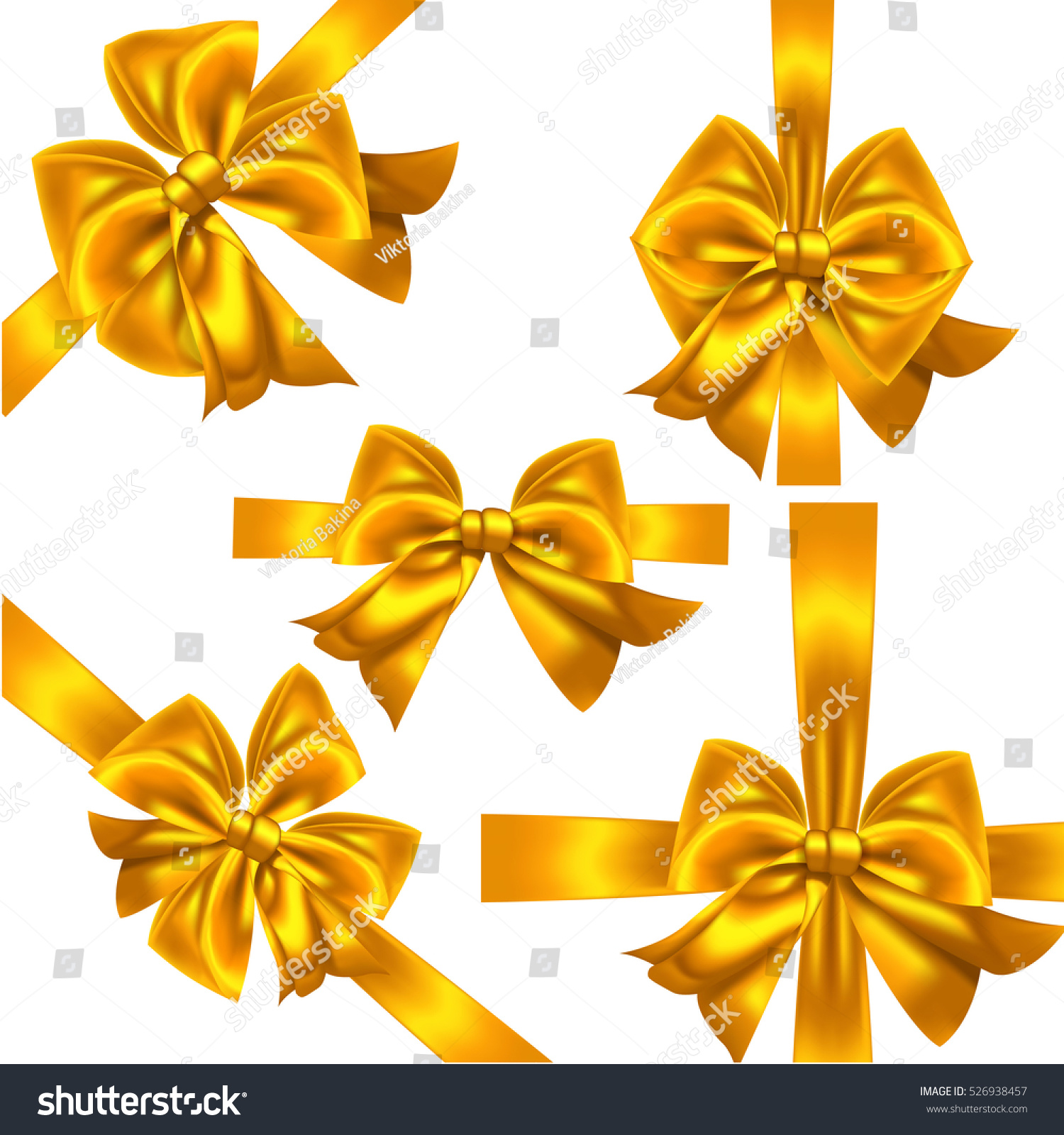 Set yellow gold gift bows vector stock vector 526938457 shutterstock negle Images