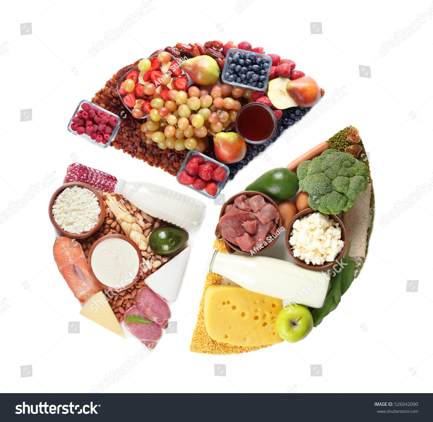Pie Chart Food Products On White Stock Photo Edit Now 526942090