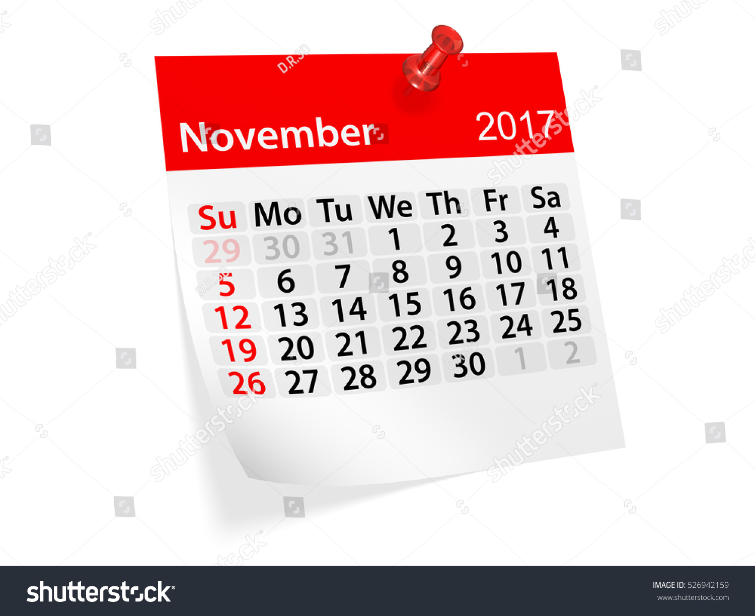 Calendar Illustration Jobs : Colorful pinned note monthly calendar november stock