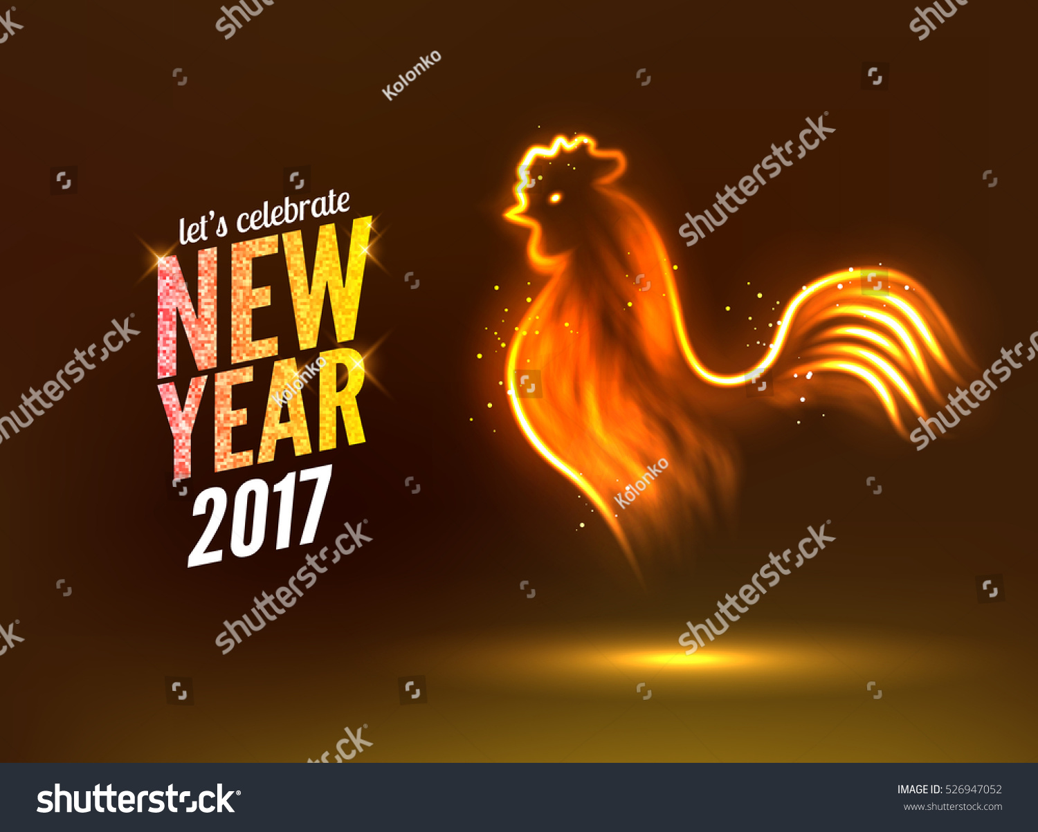Rooster New Year Greeting Card Design Stock Illustration 526947052