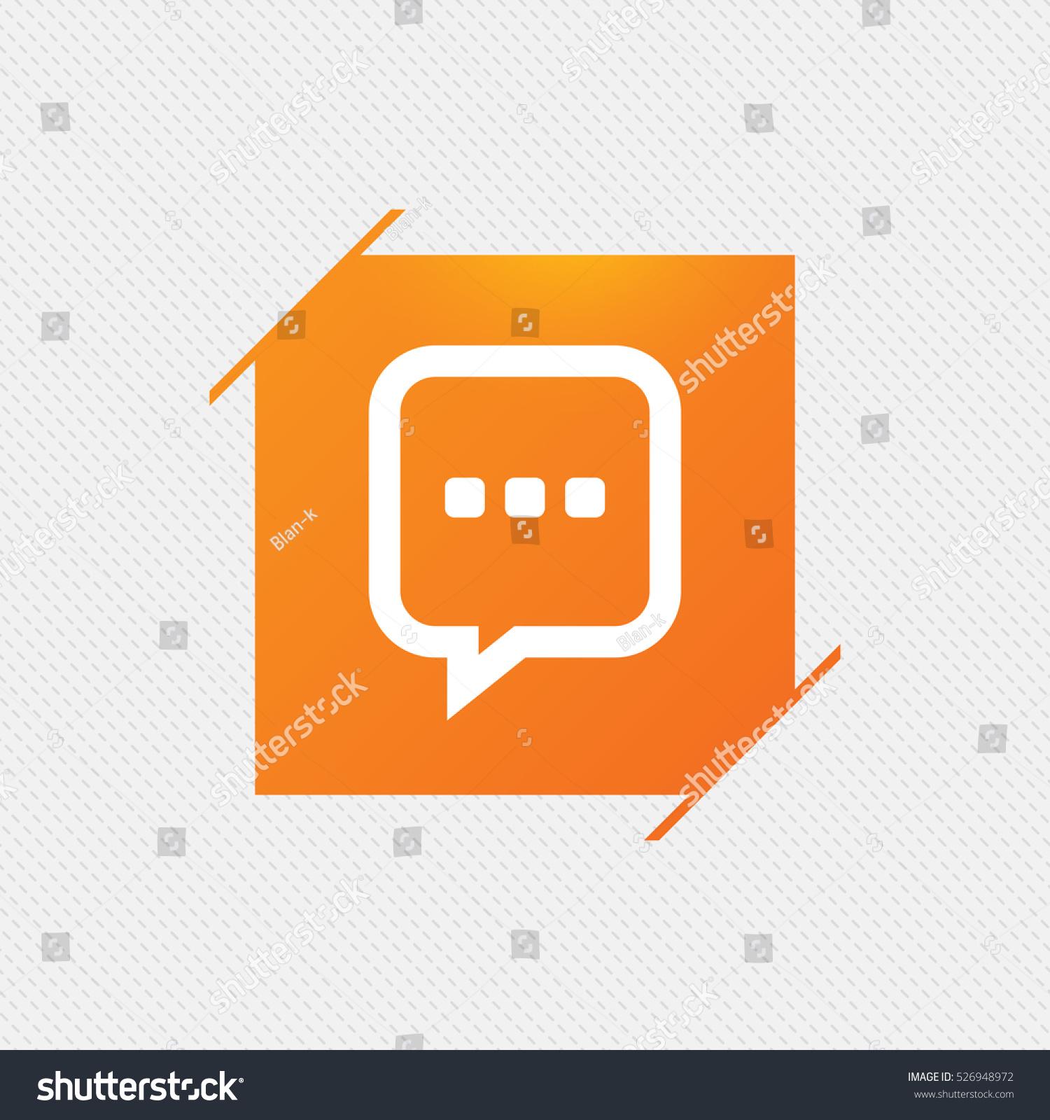 Chat sign icon speech bubble three stock vector 526948972 speech bubble with three dots symbol communication chat bubble orange biocorpaavc