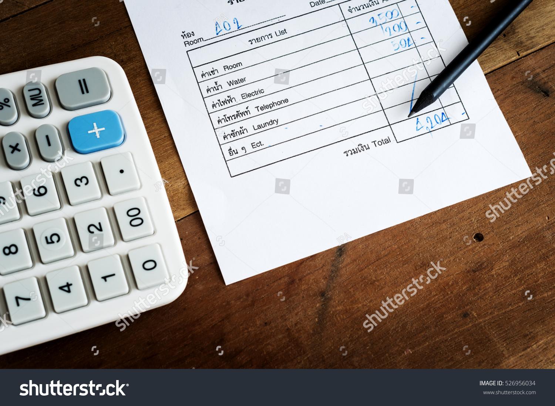 Utility Bill Calculator Pencil Save Money Stock Photo (Edit