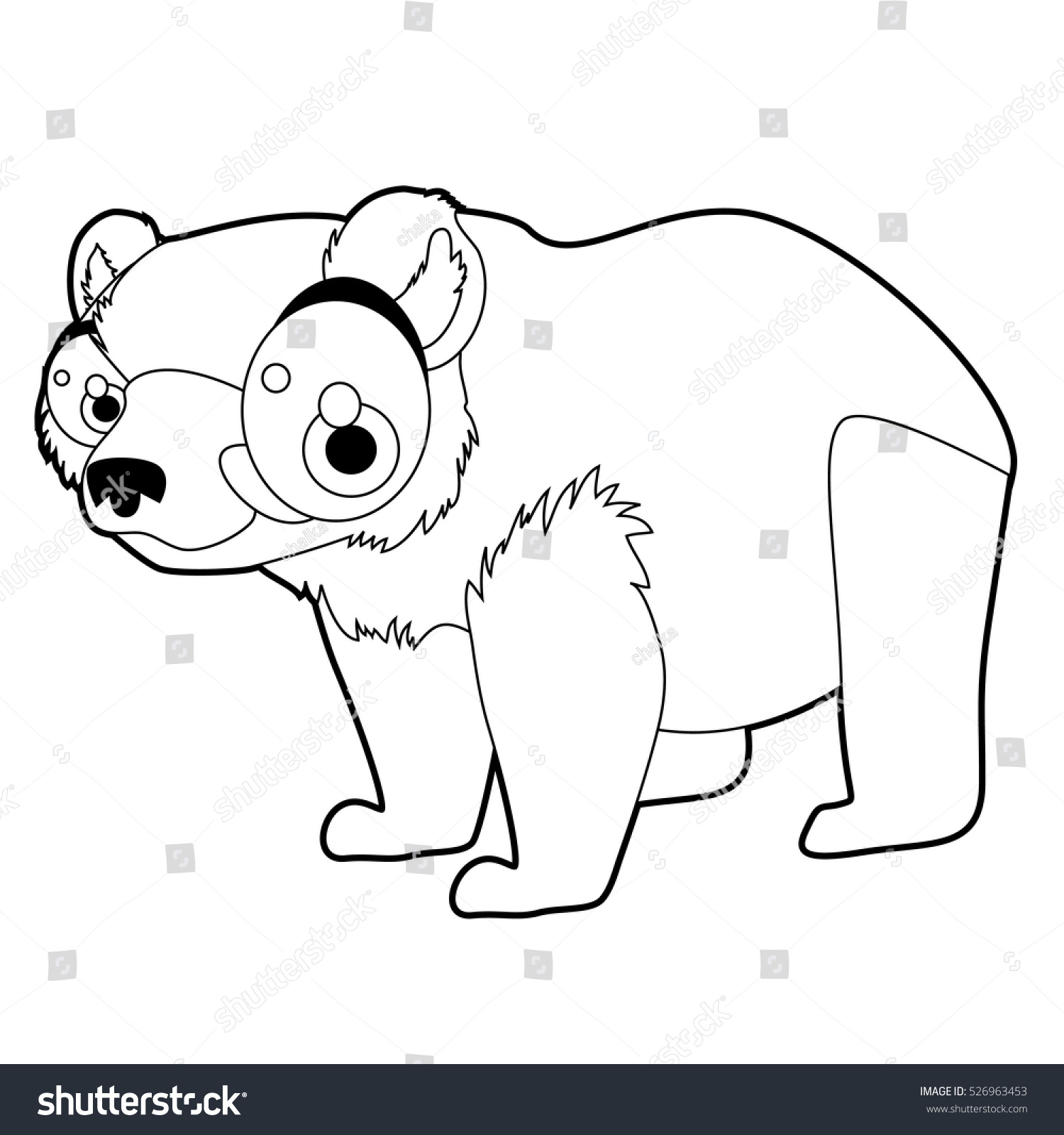 Coloring Book Page Funny Cartoon Comic Cool Nice Animals Grizzly Bear