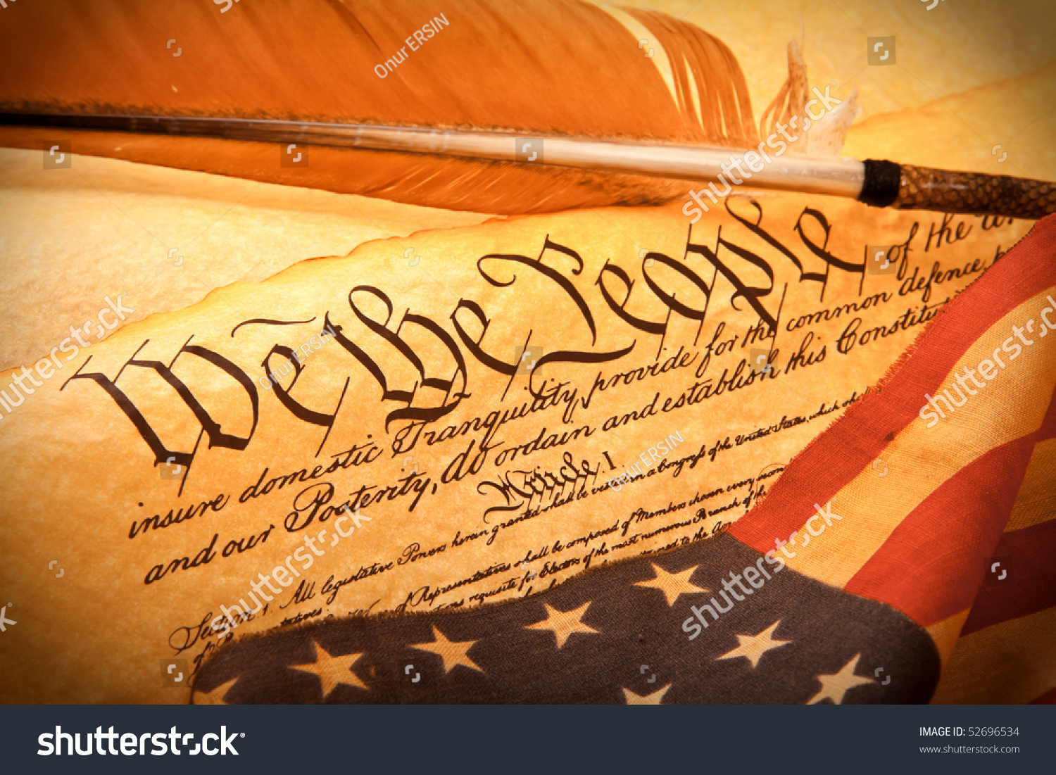 Old Fashionet American Constitution We People Stock Photo