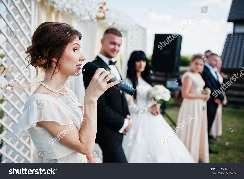 Master Ceremony Speech On Microphone Background Stock
