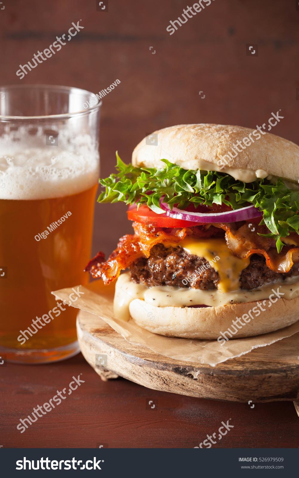 Bacon Cheese Burger Beef Patty Tomato Stock Photo 526979509 ...