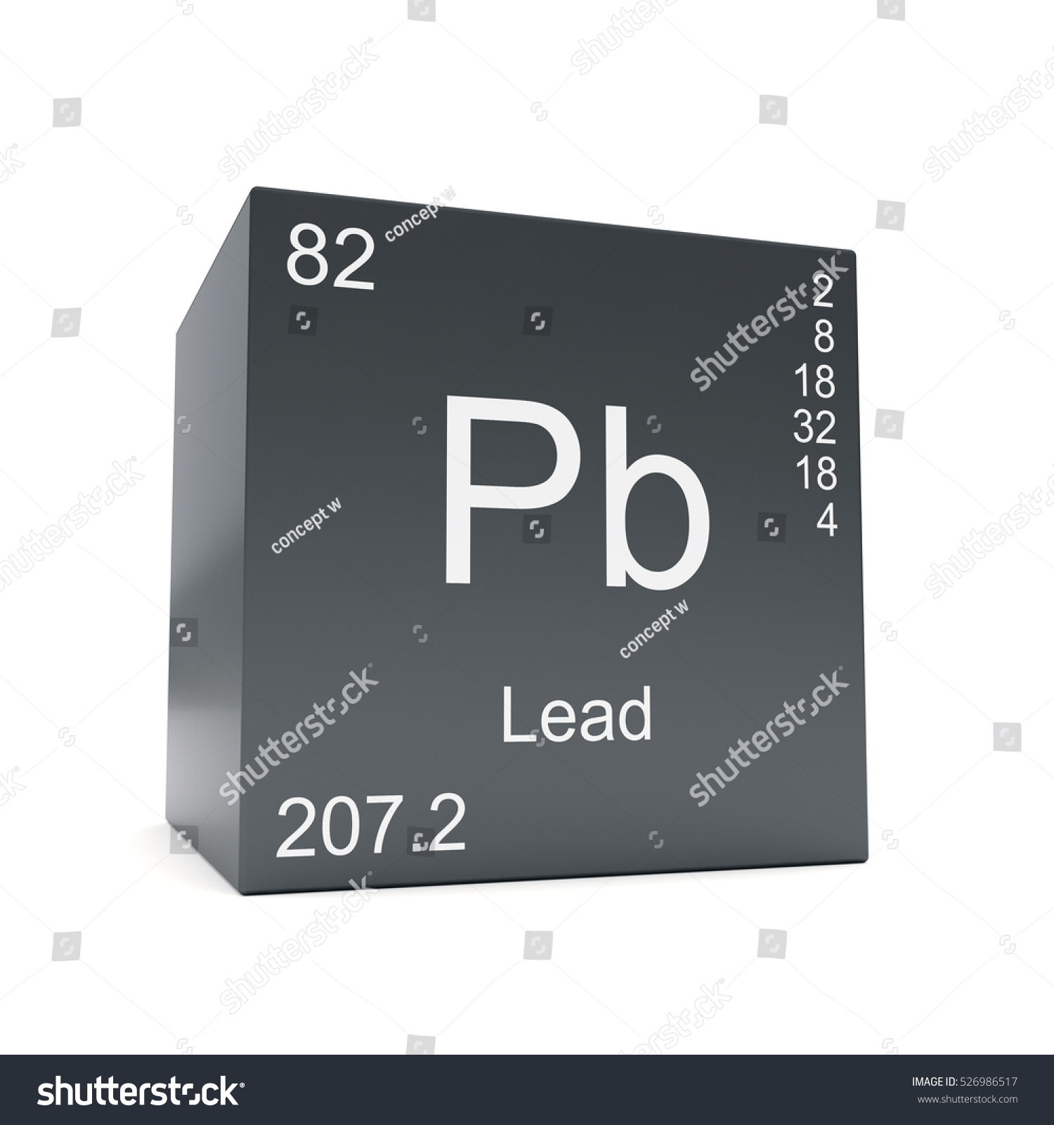 Lead Chemical Element Symbol Periodic Table Stock Illustration