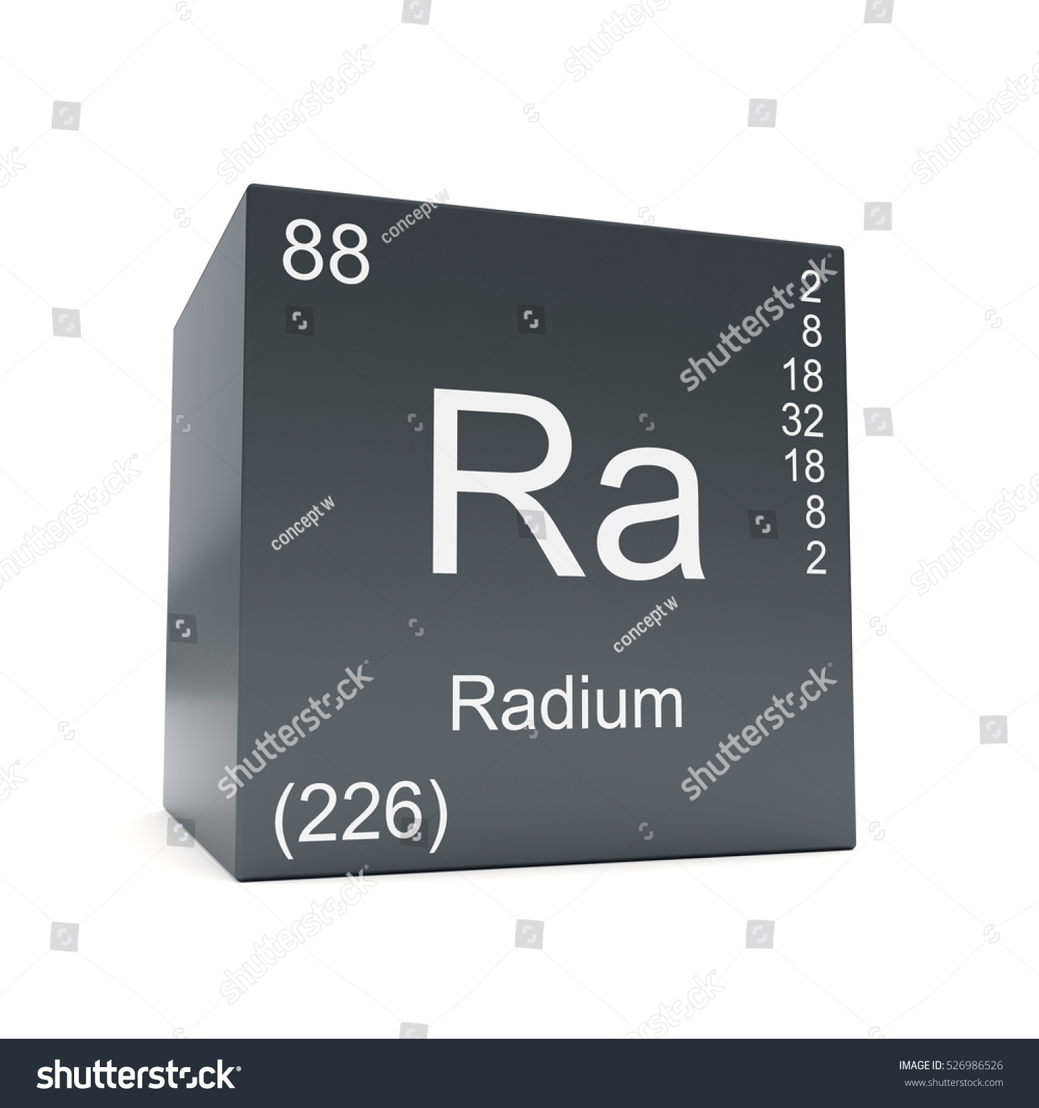 Radium chemical element symbol periodic table stock illustration radium chemical element symbol from the periodic table displayed on black cube 3d render gamestrikefo Images