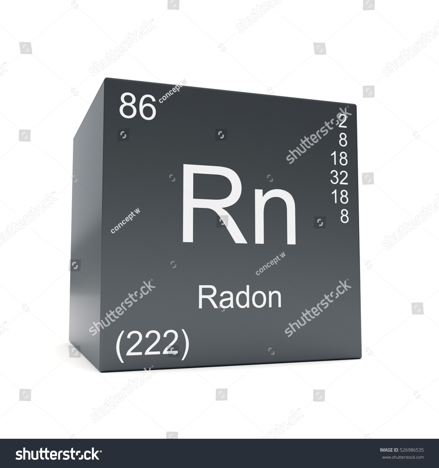 Radon chemical element symbol periodic table stock illustration radon chemical element symbol from the periodic table displayed on black cube 3d render buycottarizona