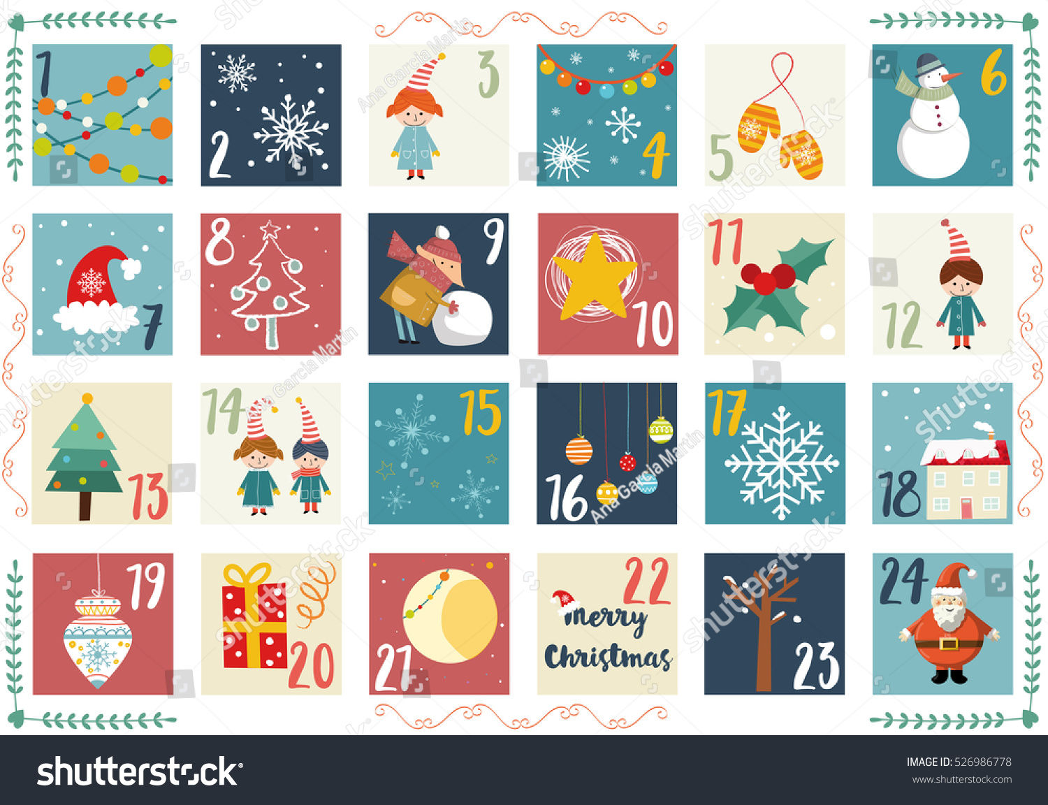 Christmas Calendar Illustration : Vector advent calendar christmas poster printable stock