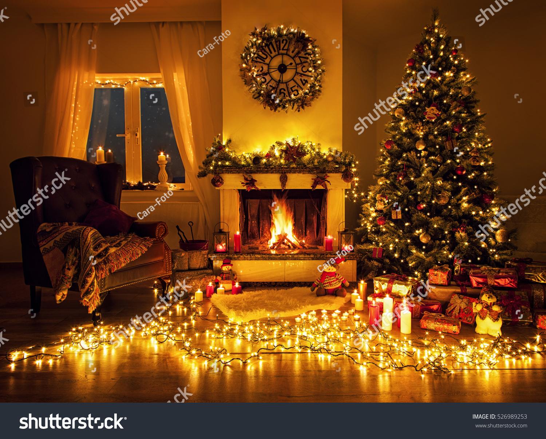 Beautiful Living Room Fireplace Christmas Tree Stock Photo