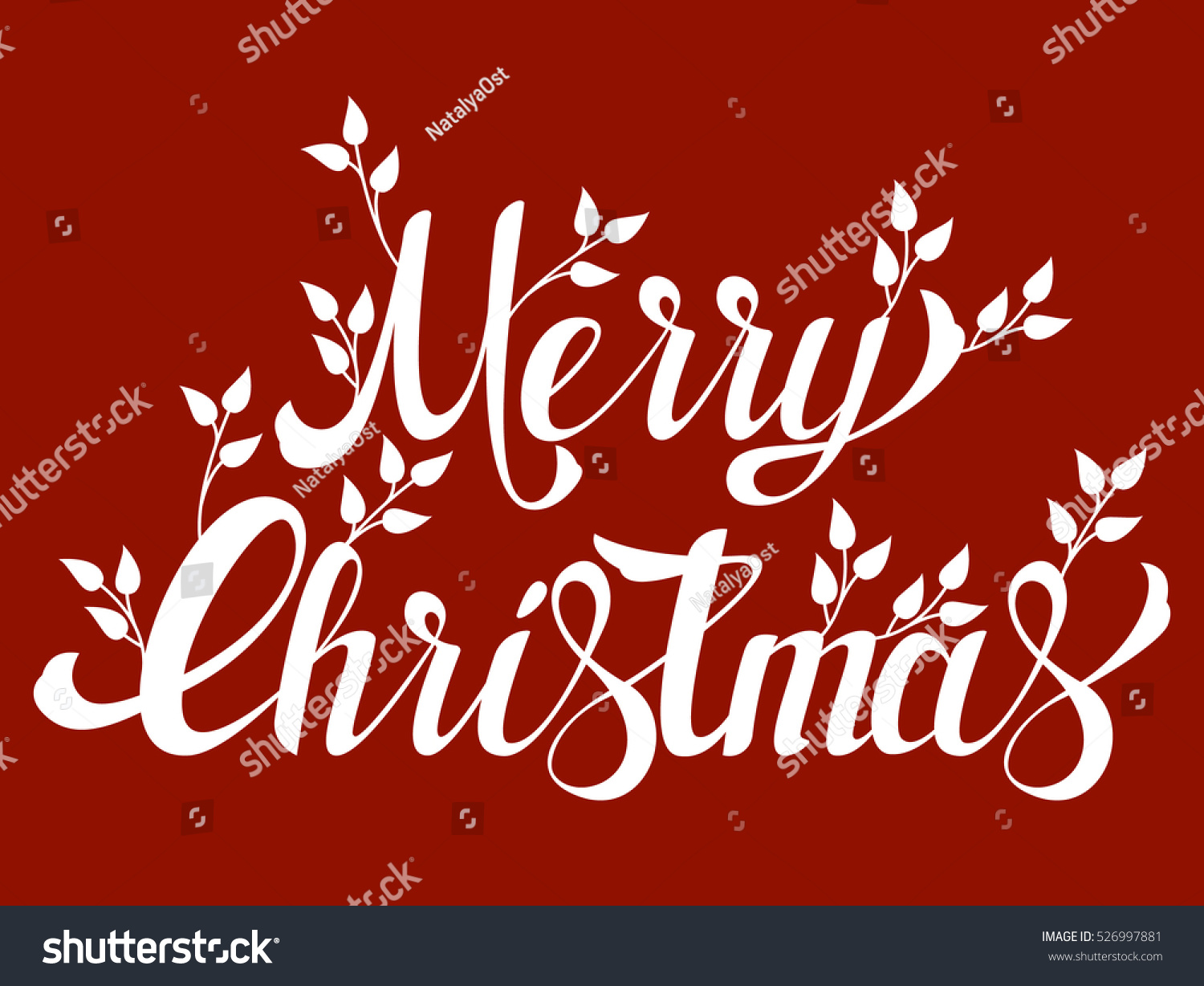 Lettering Words Merry Christmas Decorated Leaves Stock Vector ...