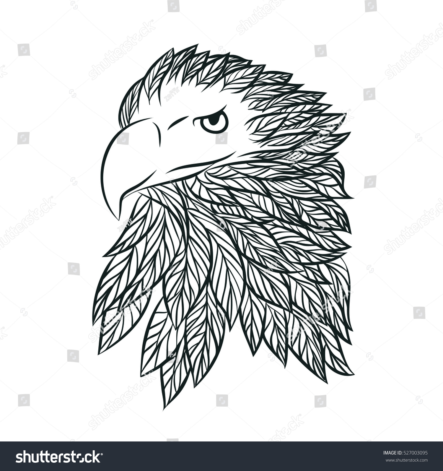 hand drawn head eagle vector stock vector 527003095 shutterstock