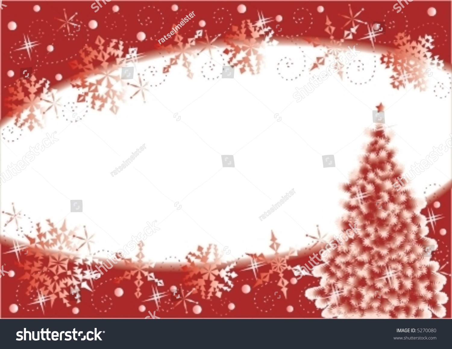 christmas tree and snowflakes horizontal background  red