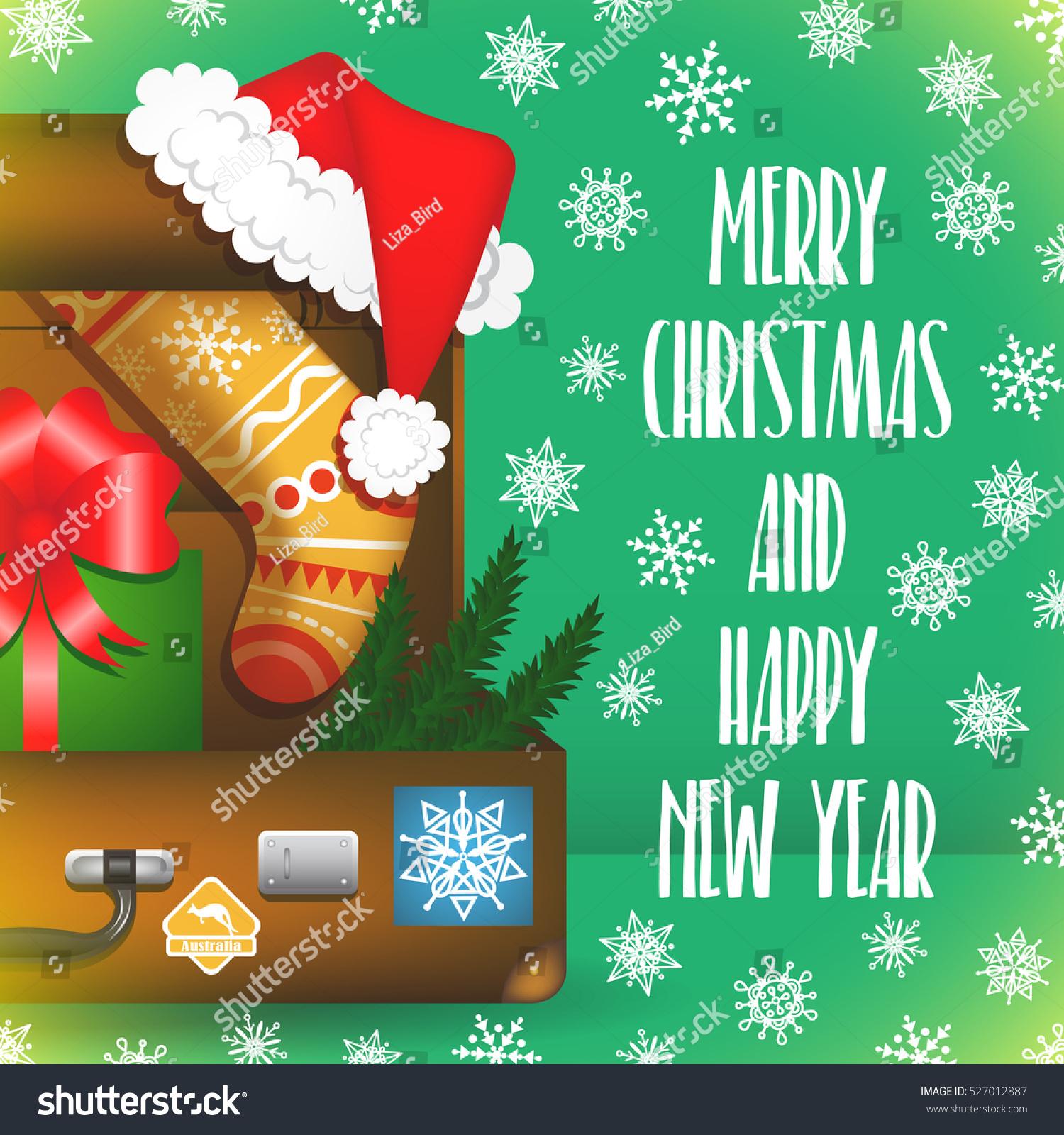 Merry Christmas Card Snowflakes Santa Claus Stock Vector Royalty