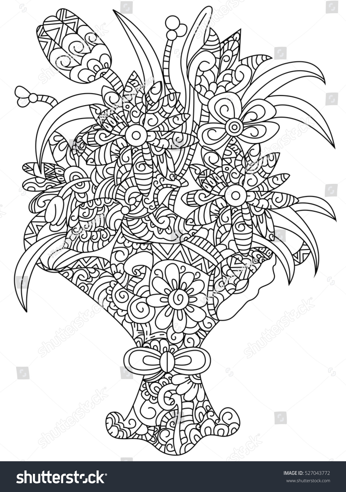 Bouquet Of Flowers Coloring Book For Adults Raster Illustration Flower Anti Stress