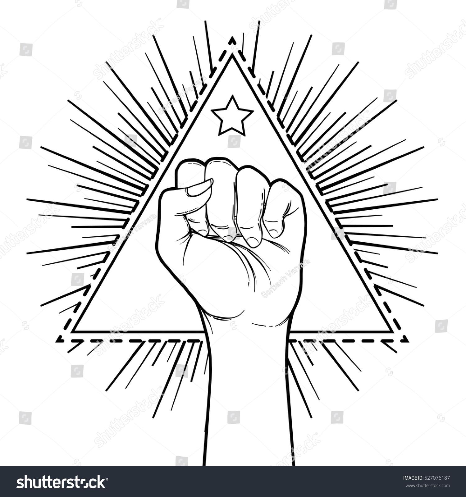 Human hand raised over triangle shape stock vector 527076187 human hand raised up over triangle shape with rays symbol of fighting revolution buycottarizona Images