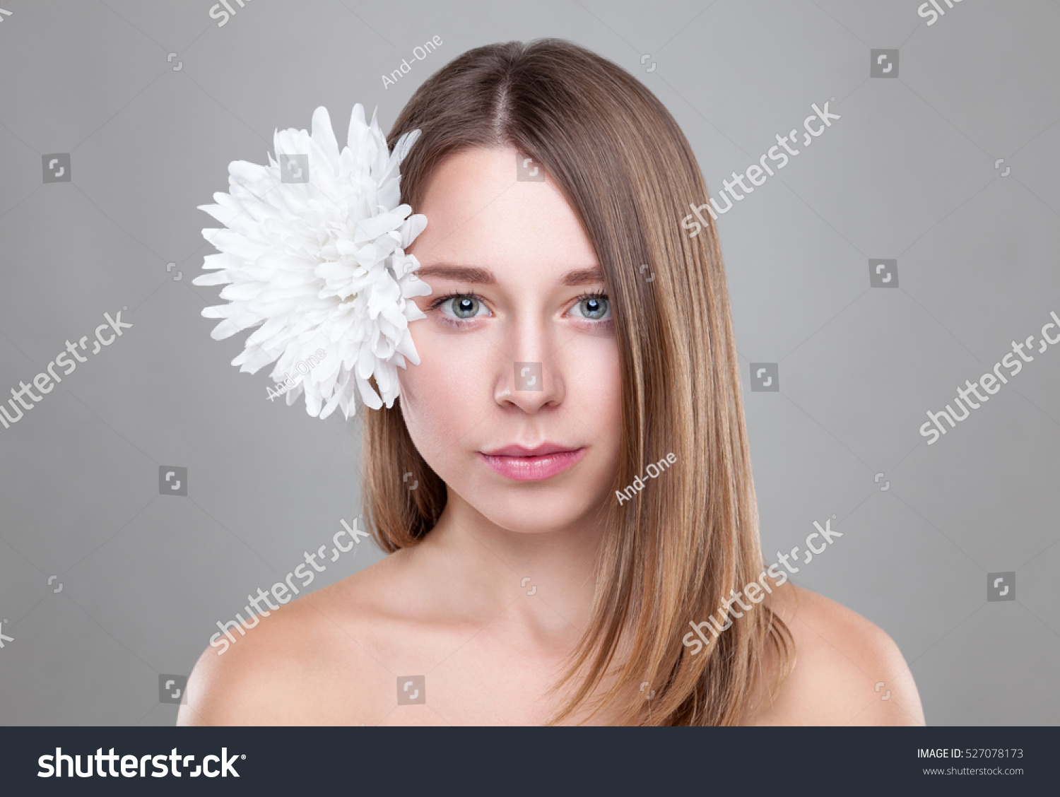 Beautiful Brunette Woman White Flower Hair Stock Photo Edit Now