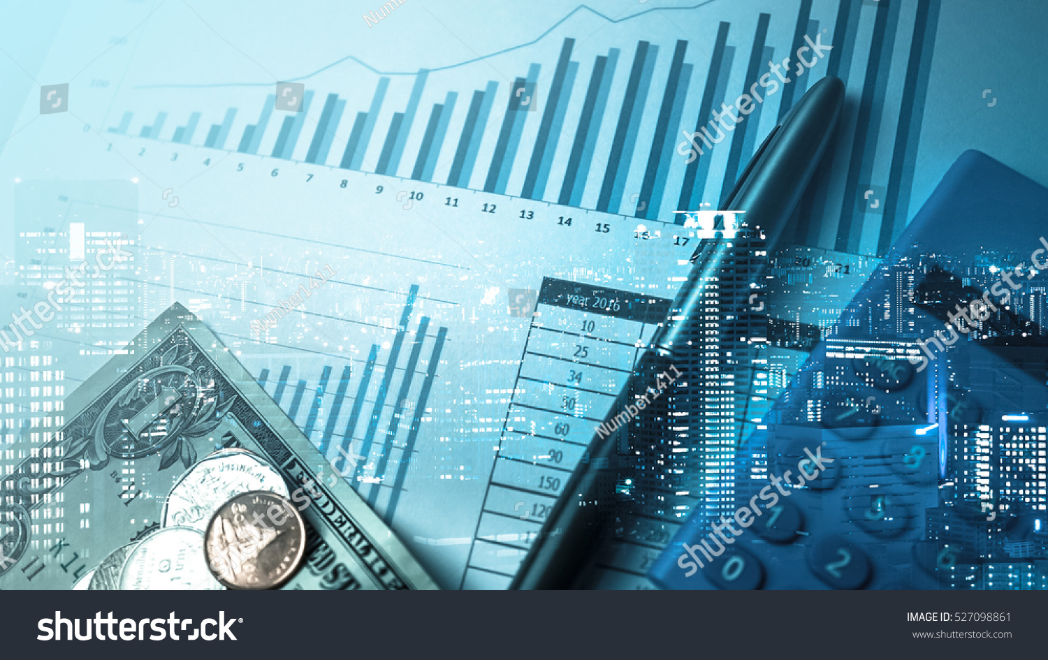 Double exposure of city and pen, calculator , money , graph for finance and business concept #527098861