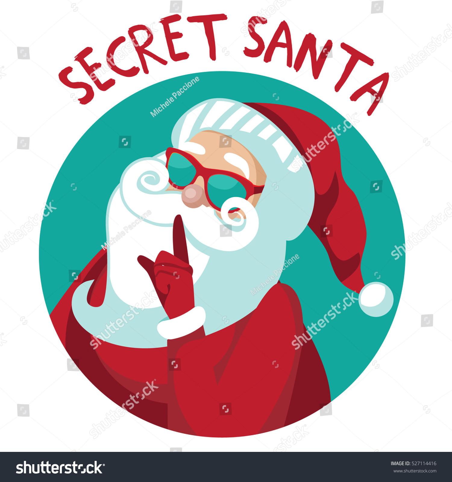 cartoon secret santa christmas illustration santa stock vector rh shutterstock com