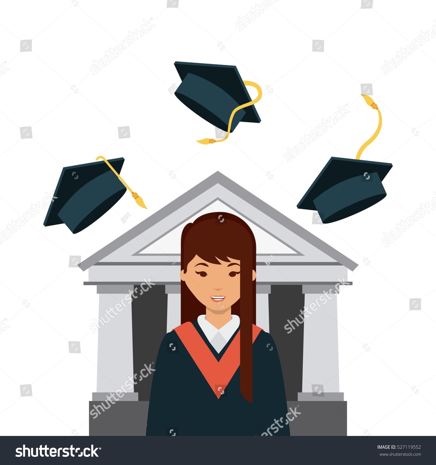Cartoon Graduate Woman Graduation Gown Hat Stock Vector 527119552 ...